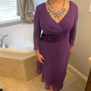 Asymmetrical purple satin and silk dress